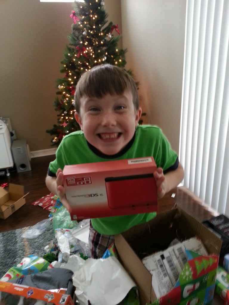 Jacob was so excited to get a Nintendo 3DS XL!